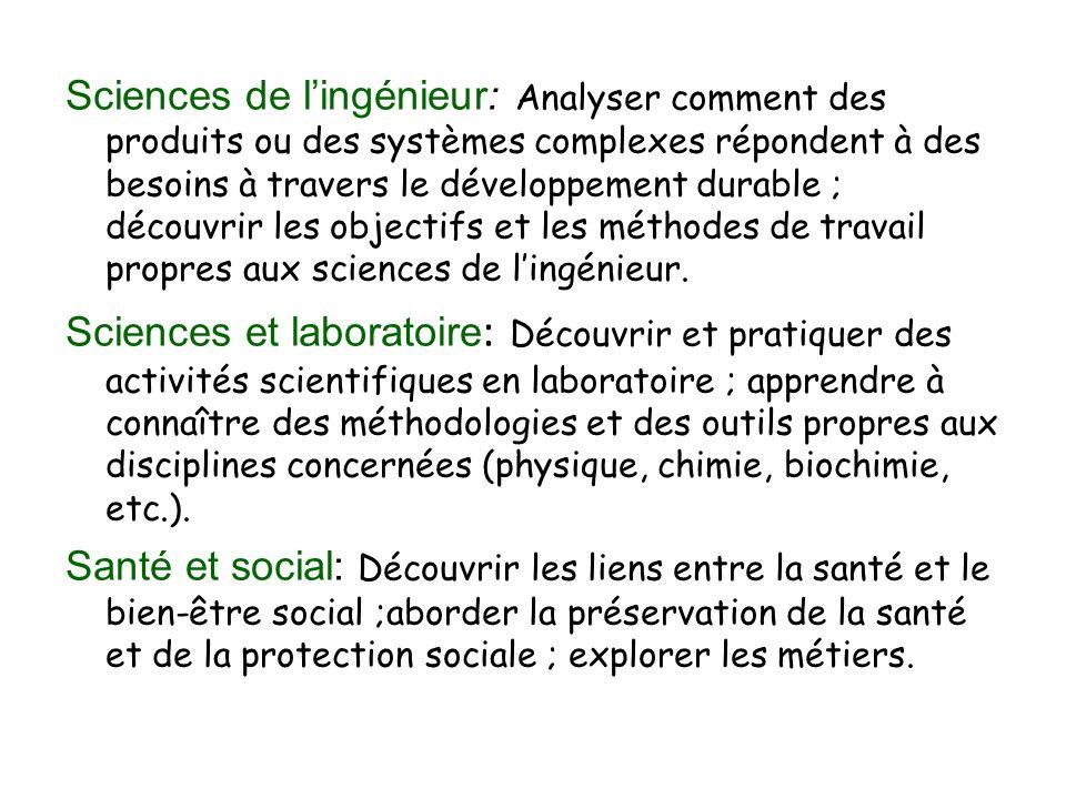 Sciences de lingénieur: Analyser comment des produits ou des systèmes complexes répondent à des besoins à travers le développement durable ; découvrir