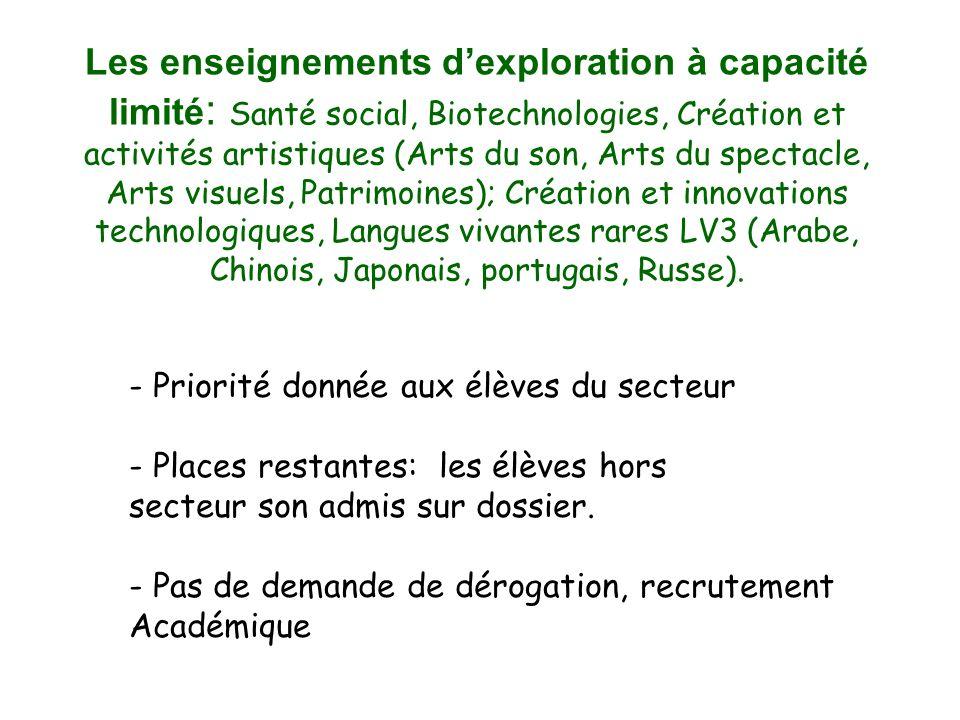 - Priorité donnée aux élèves du secteur - Places restantes: les élèves hors secteur son admis sur dossier.
