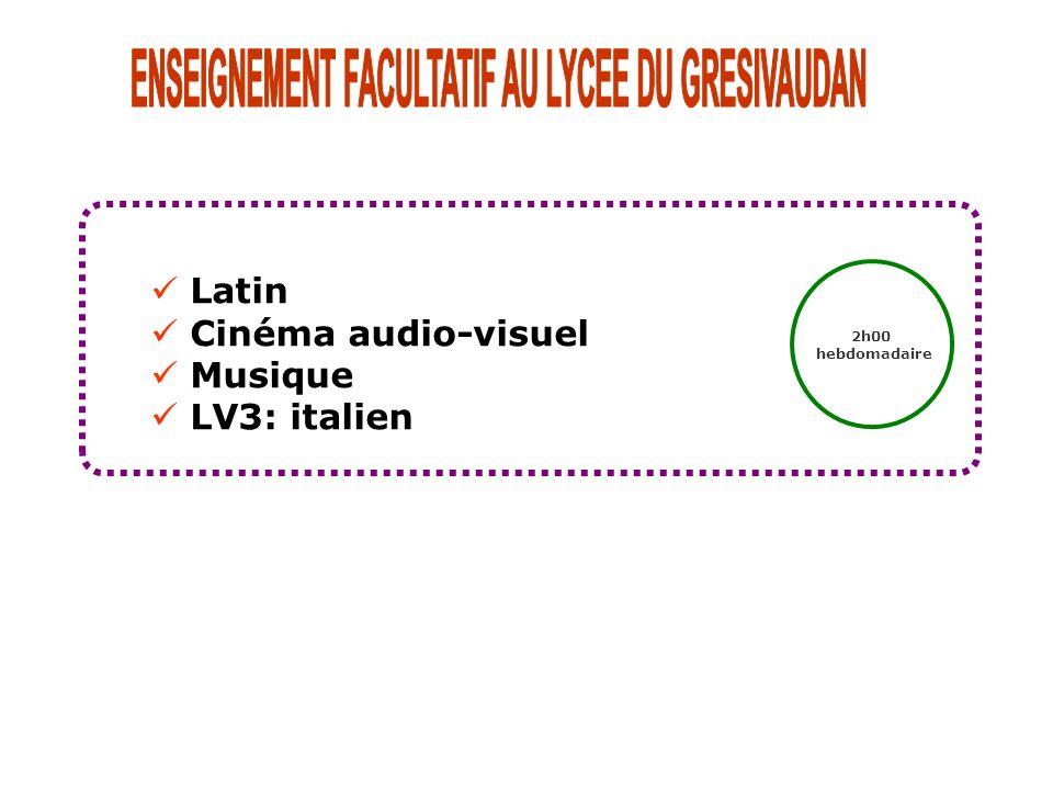 Latin Cinéma audio-visuel Musique LV3: italien 2h00 hebdomadaire