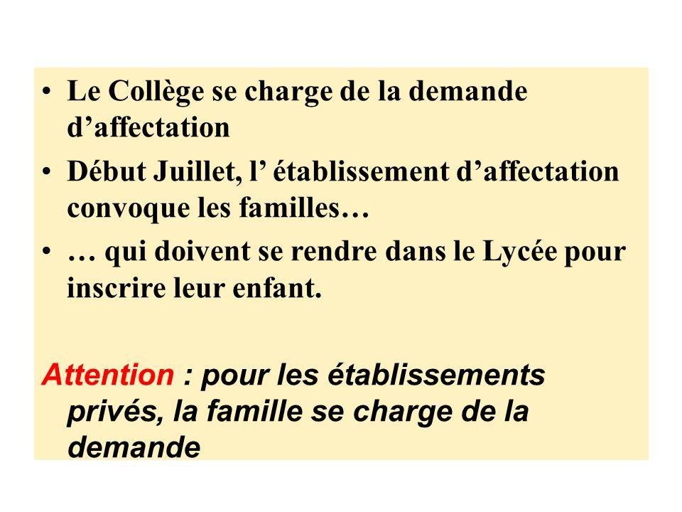 Le Collège se charge de la demande daffectation Début Juillet, l établissement daffectation convoque les familles… … qui doivent se rendre dans le Lycée pour inscrire leur enfant.
