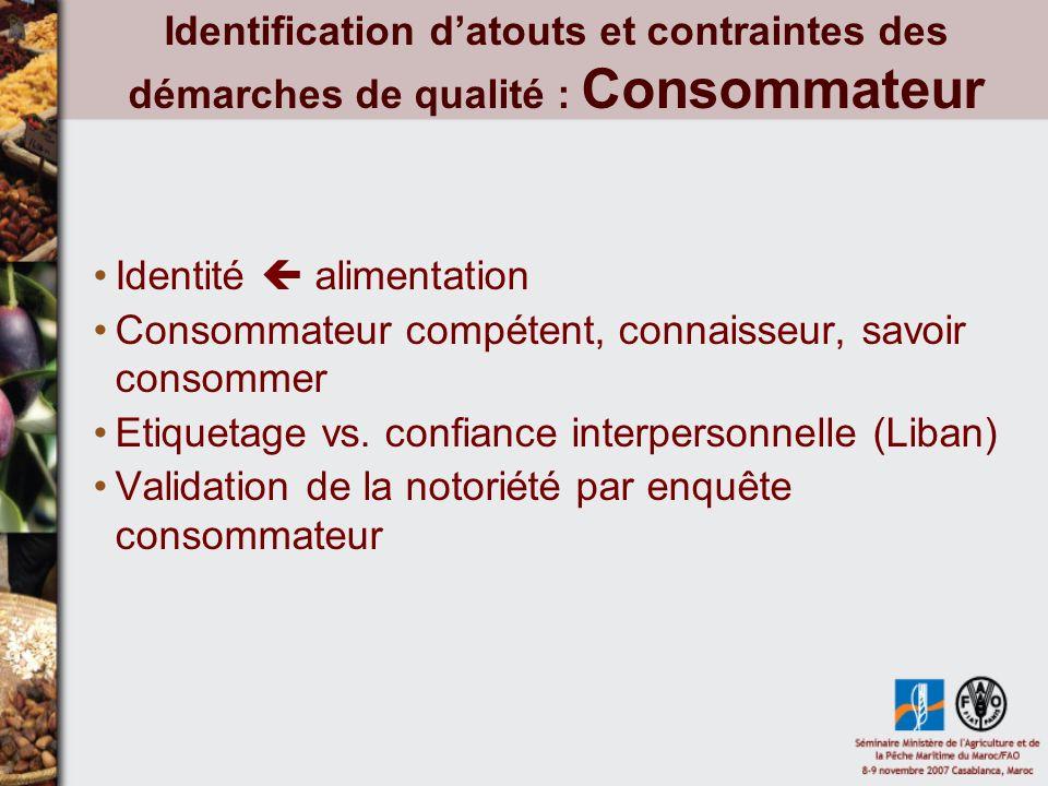 Identification datouts et contraintes des démarches de qualité : Consommateur Identité alimentation Consommateur compétent, connaisseur, savoir consommer Etiquetage vs.