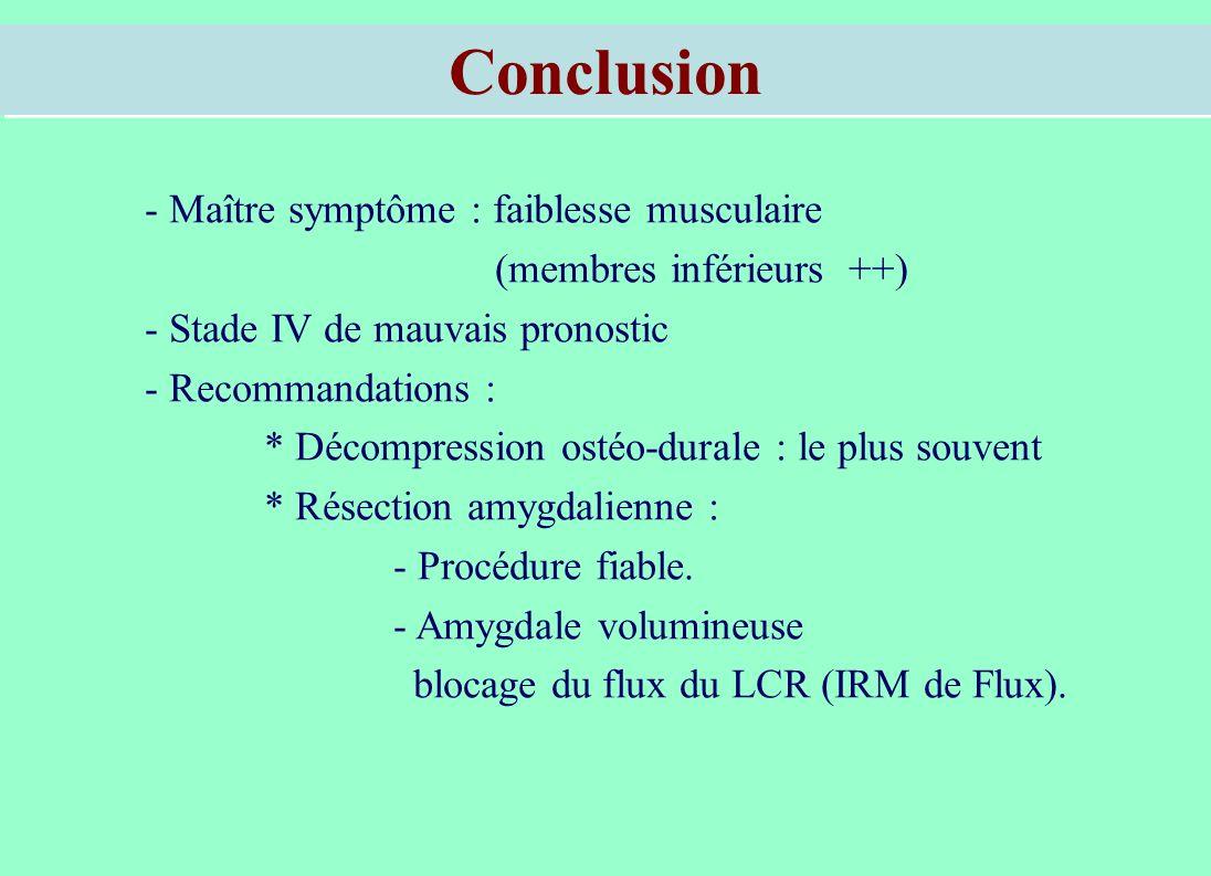 Conclusion - Maître symptôme : faiblesse musculaire (membres inférieurs ++) - Stade IV de mauvais pronostic - Recommandations : * Décompression ostéo-