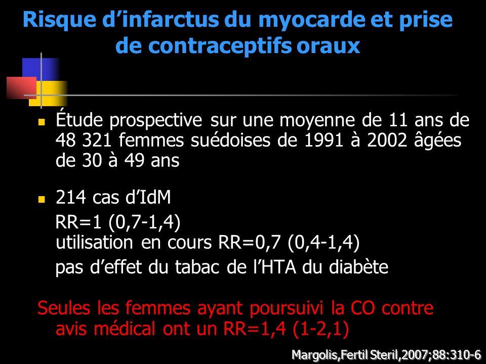 Risque dinfarctus du myocarde et prise de contraceptifs oraux Étude prospective sur une moyenne de 11 ans de 48 321 femmes suédoises de 1991 à 2002 âg