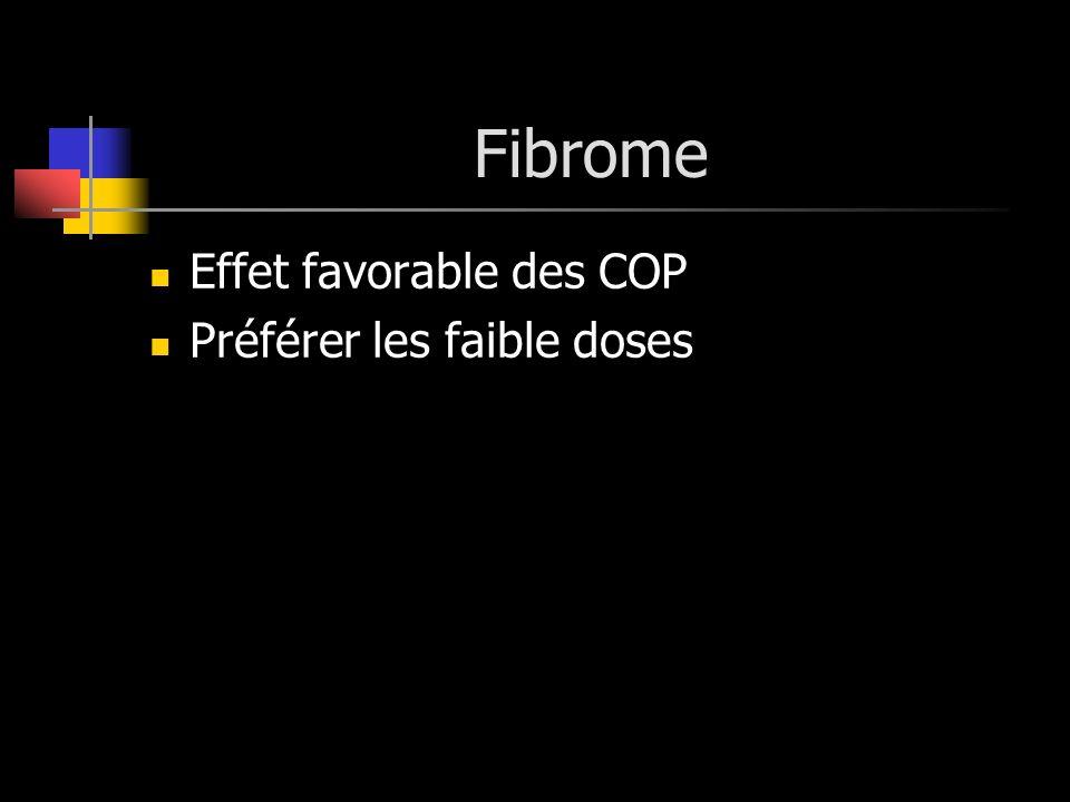 Fibrome Effet favorable des COP Préférer les faible doses