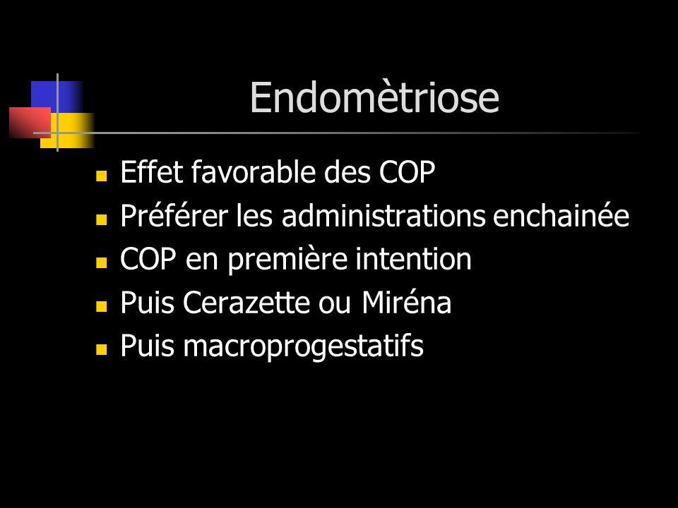Endomètriose Effet favorable des COP Préférer les administrations enchainée COP en première intention Puis Cerazette ou Miréna Puis macroprogestatifs
