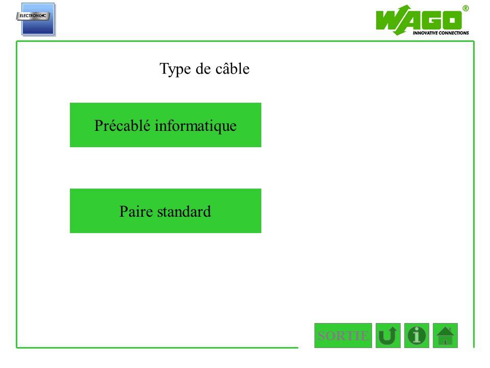SORTIE 1.2.2.1 Précablé informatique Paire standard Type de câble