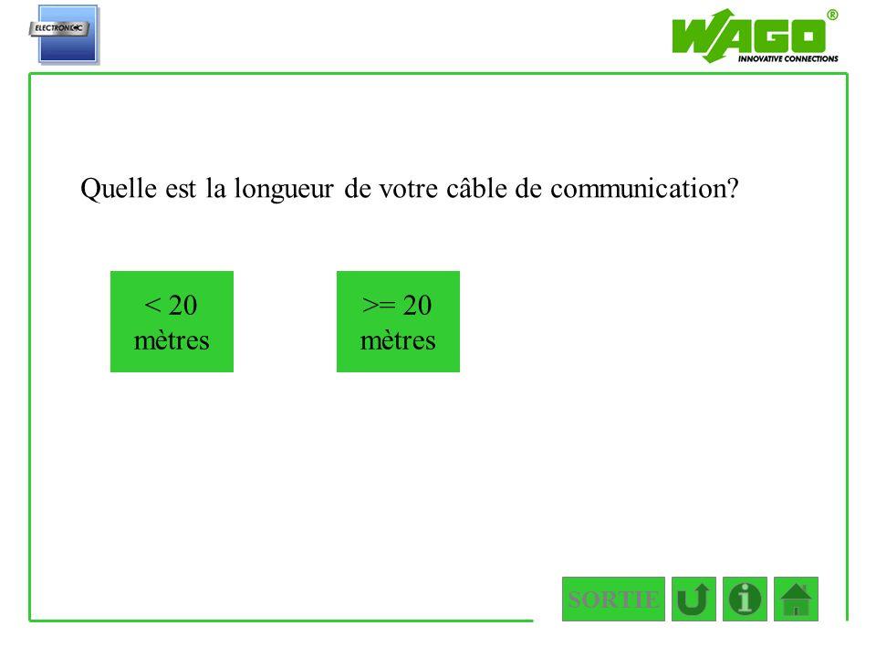 SORTIE 1.2.2.1.2.1 Quelle est la longueur de votre câble de communication? < 20 mètres >= 20 mètres