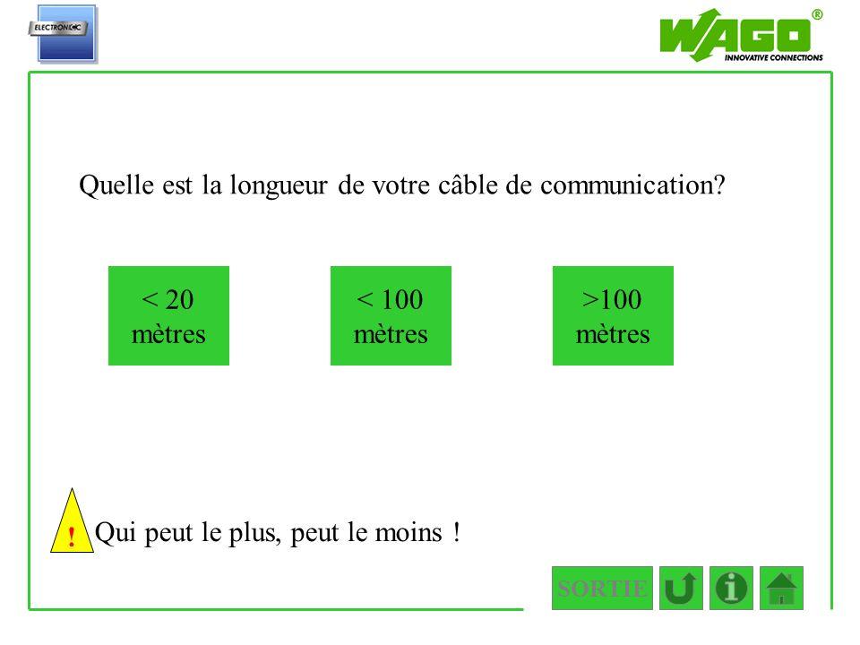 Quelle est la longueur de votre câble de communication? < 20 mètres >100 mètres < 100 mètres Qui peut le plus, peut le moins ! 1.3.1.1 ! SORTIE