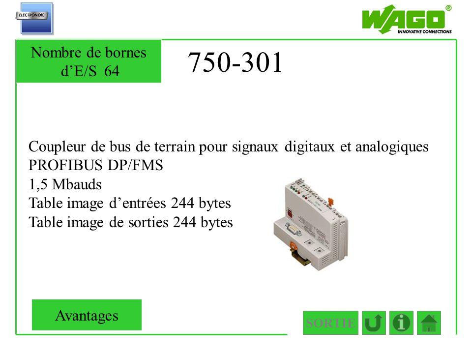750-301 Coupleur de bus de terrain pour signaux digitaux et analogiques PROFIBUS DP/FMS 1,5 Mbauds Table image dentrées 244 bytes Table image de sorti