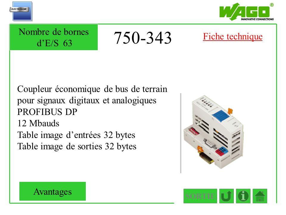 750-343 Coupleur économique de bus de terrain pour signaux digitaux et analogiques PROFIBUS DP 12 Mbauds Table image dentrées 32 bytes Table image de