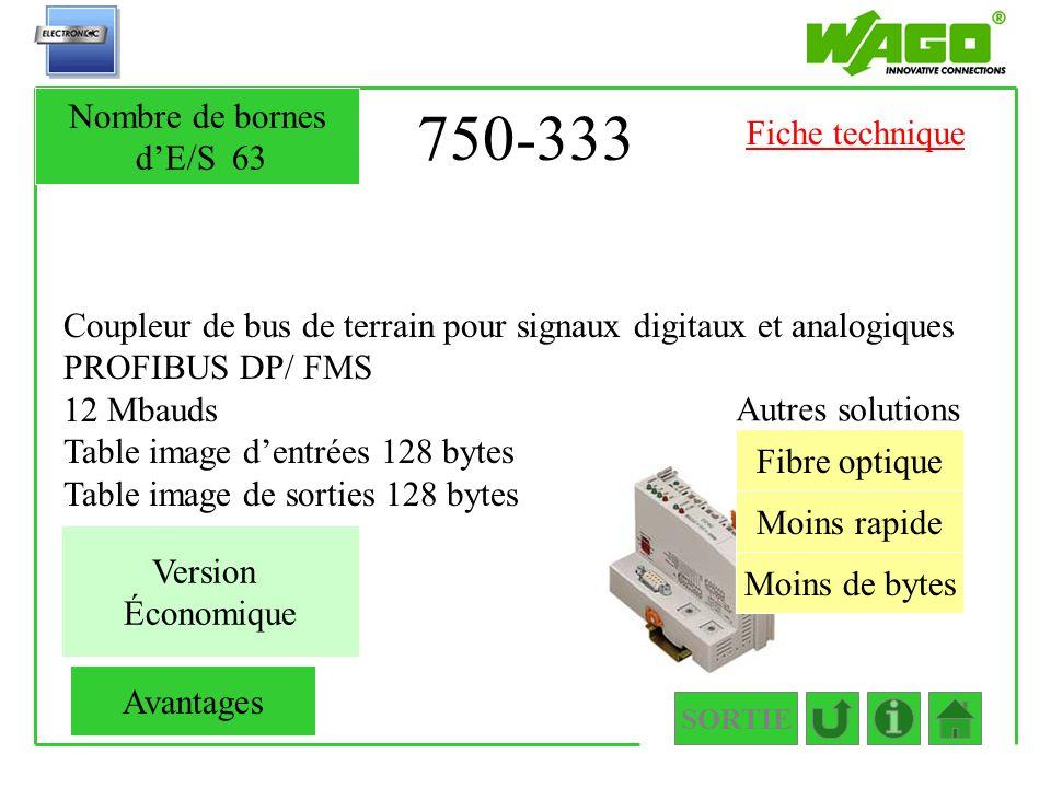750-333 Coupleur de bus de terrain pour signaux digitaux et analogiques PROFIBUS DP/ FMS 12 Mbauds Table image dentrées 128 bytes Table image de sorti