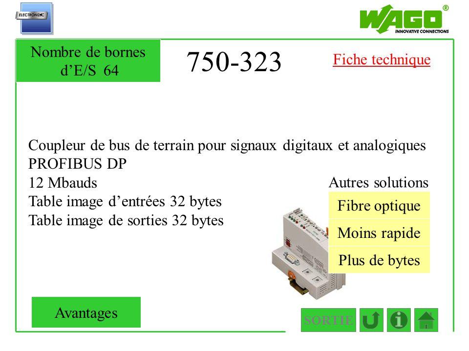 750-323 Coupleur de bus de terrain pour signaux digitaux et analogiques PROFIBUS DP 12 Mbauds Table image dentrées 32 bytes Table image de sorties 32