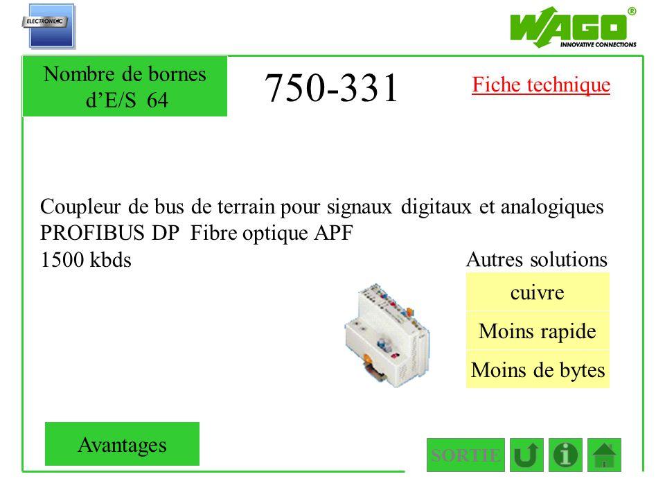 750-331 Coupleur de bus de terrain pour signaux digitaux et analogiques PROFIBUS DP Fibre optique APF 1500 kbds SORTIE Moins rapide Moins de bytes cui