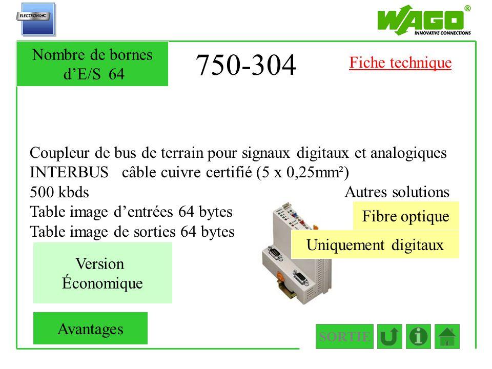 750-304 Coupleur de bus de terrain pour signaux digitaux et analogiques INTERBUS câble cuivre certifié (5 x 0,25mm²) 500 kbds Table image dentrées 64