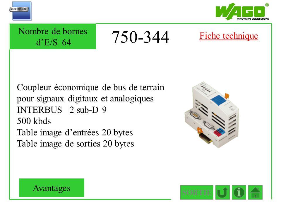 750-344 Coupleur économique de bus de terrain pour signaux digitaux et analogiques INTERBUS 2 sub-D 9 500 kbds Table image dentrées 20 bytes Table ima