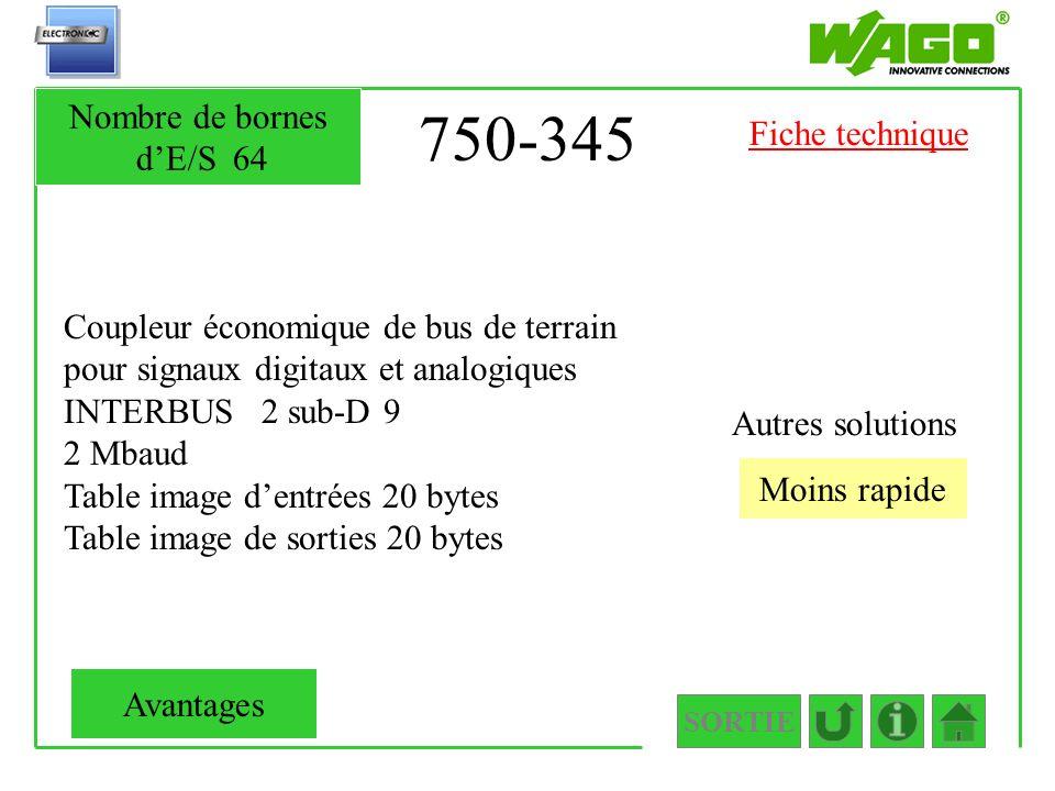 750-345 Coupleur économique de bus de terrain pour signaux digitaux et analogiques INTERBUS 2 sub-D 9 2 Mbaud Table image dentrées 20 bytes Table imag
