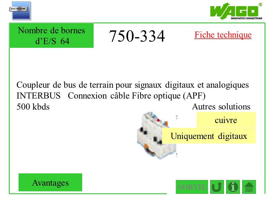 750-334 Coupleur de bus de terrain pour signaux digitaux et analogiques INTERBUS Connexion câble Fibre optique (APF) 500 kbds SORTIE Uniquement digita
