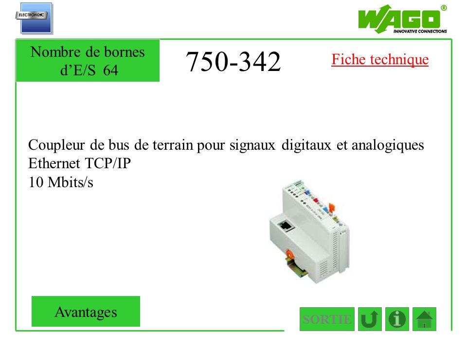750-342 Coupleur de bus de terrain pour signaux digitaux et analogiques Ethernet TCP/IP 10 Mbits/s SORTIE Nombre de bornes dE/S64 Avantages Fiche tech