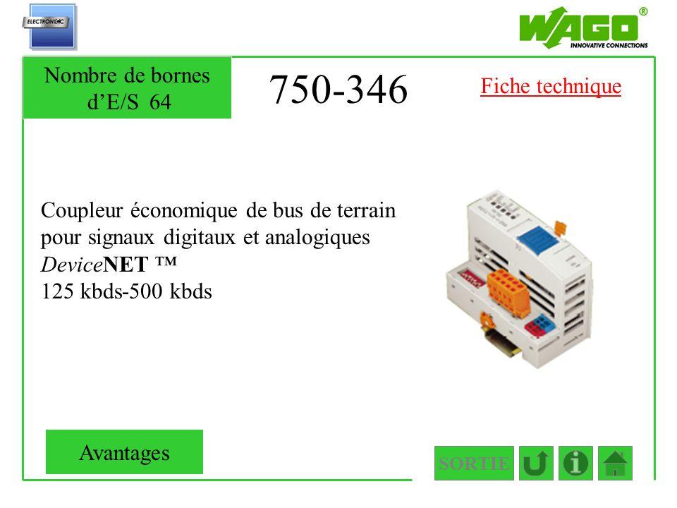750-346 Coupleur économique de bus de terrain pour signaux digitaux et analogiques DeviceNET 125 kbds-500 kbds SORTIE Nombre de bornes dE/S64 Avantage