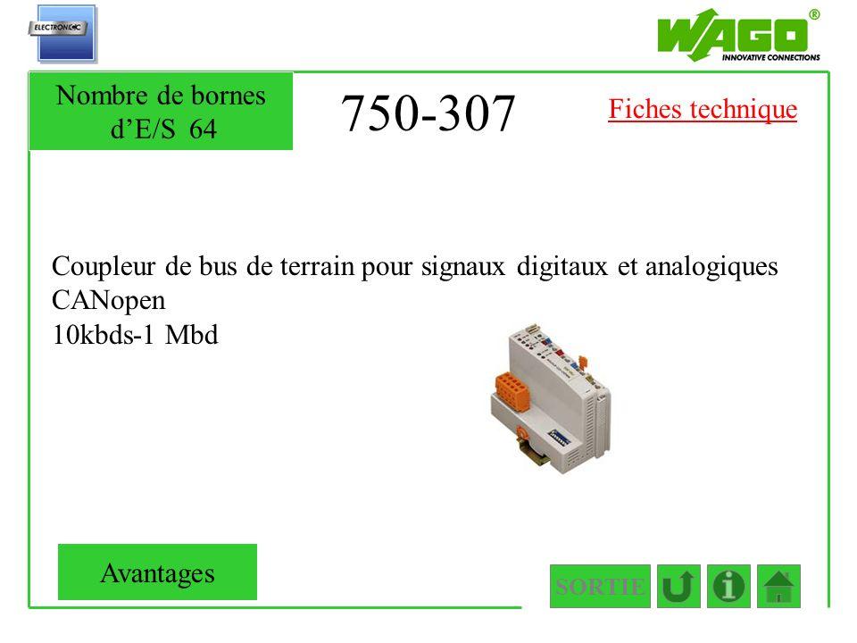750-307 Coupleur de bus de terrain pour signaux digitaux et analogiques CANopen 10kbds-1 Mbd SORTIE Nombre de bornes dE/S64 Avantages Fiches technique