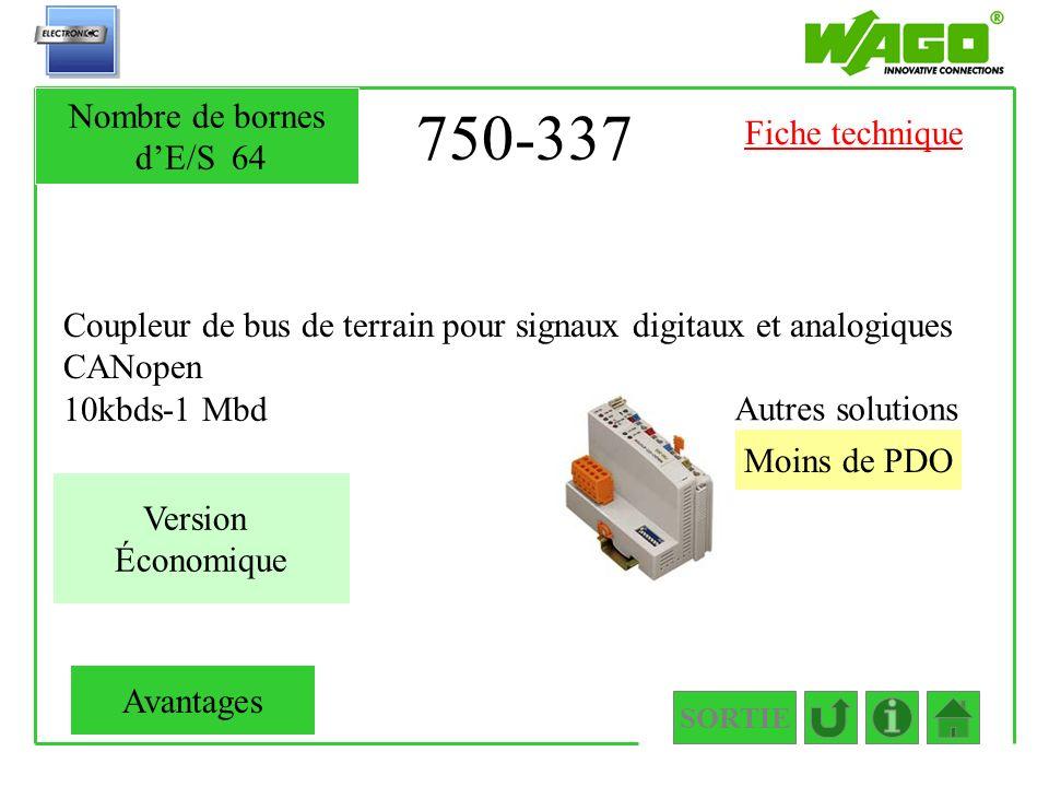 750-337 Coupleur de bus de terrain pour signaux digitaux et analogiques CANopen 10kbds-1 Mbd SORTIE Moins de PDO Autres solutions Nombre de bornes dE/