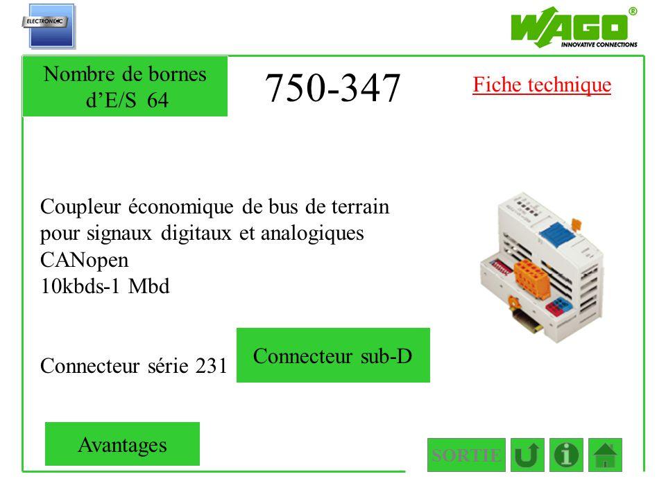 750-347 Coupleur économique de bus de terrain pour signaux digitaux et analogiques CANopen 10kbds-1 Mbd Connecteur série 231 SORTIE Nombre de bornes d
