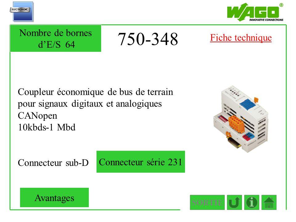 750-348 Coupleur économique de bus de terrain pour signaux digitaux et analogiques CANopen 10kbds-1 Mbd Connecteur sub-D SORTIE Nombre de bornes dE/S6