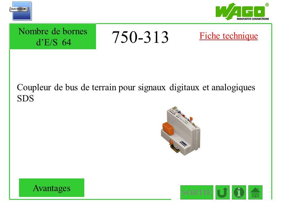 750-313 Coupleur de bus de terrain pour signaux digitaux et analogiques SDS SORTIE Nombre de bornes dE/S64 Avantages Fiche technique