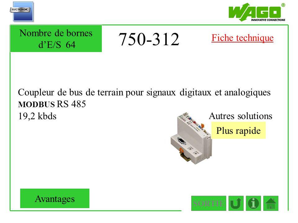 750-312 Coupleur de bus de terrain pour signaux digitaux et analogiques MODBUS RS 485 19,2 kbds Plus rapide Autres solutions SORTIE Nombre de bornes d