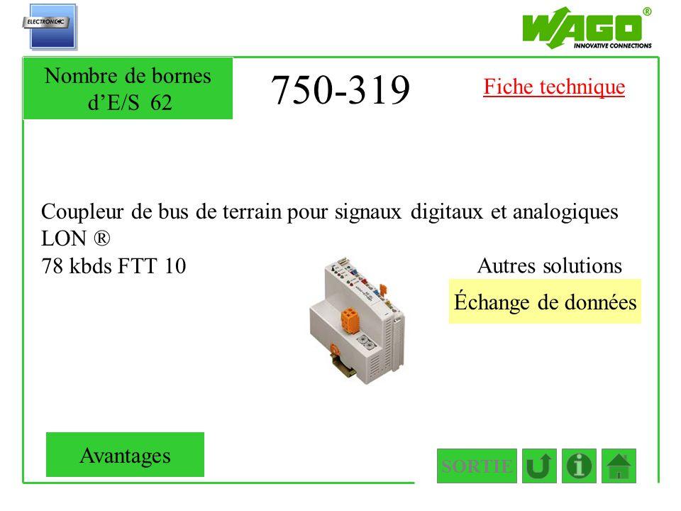 750-319 Coupleur de bus de terrain pour signaux digitaux et analogiques LON ® 78 kbds FTT 10 SORTIE Échange de données Autres solutions Nombre de born