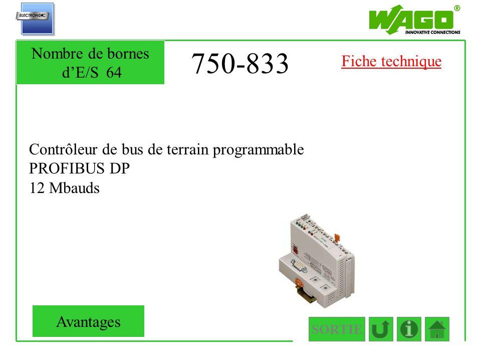 750-833 Contrôleur de bus de terrain programmable PROFIBUS DP 12 Mbauds SORTIE Nombre de bornes dE/S64 Avantages Fiche technique