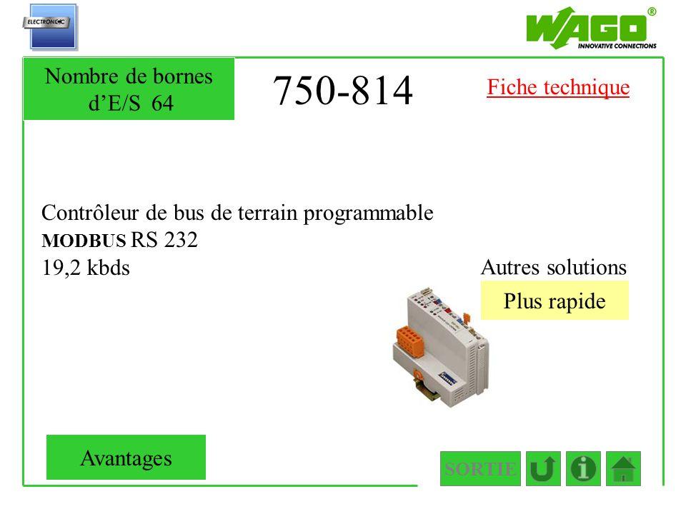 750-814 Contrôleur de bus de terrain programmable MODBUS RS 232 19,2 kbds Autres solutions Plus rapide SORTIE Nombre de bornes dE/S64 Avantages Fiche