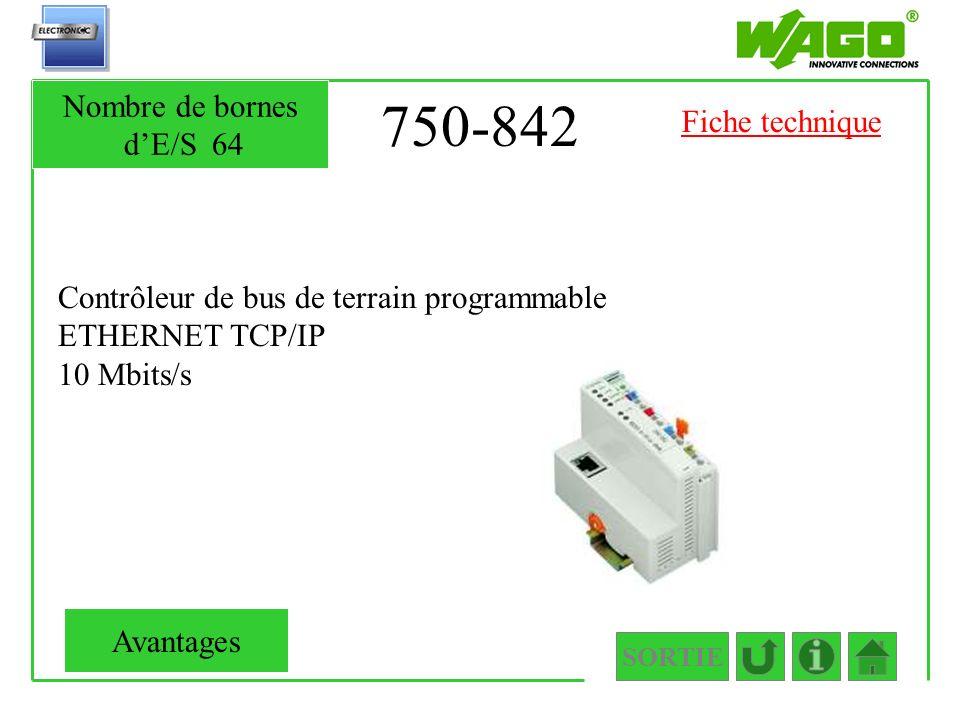 750-842 Contrôleur de bus de terrain programmable ETHERNET TCP/IP 10 Mbits/s SORTIE Nombre de bornes dE/S64 Avantages Fiche technique
