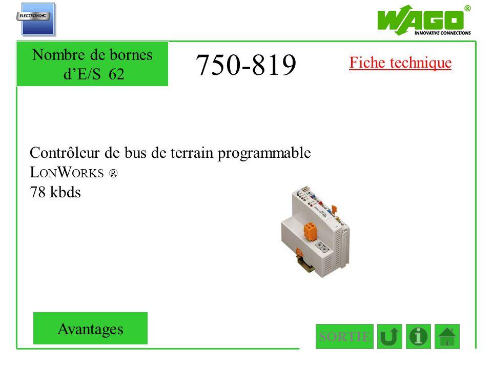 750-819 Contrôleur de bus de terrain programmable L ON W ORKS ® 78 kbds SORTIE Nombre de bornes dE/S62 Avantages Fiche technique