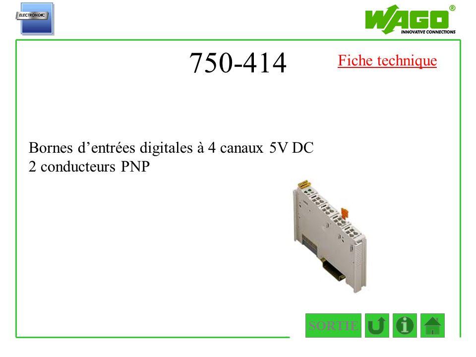750-414 Bornes dentrées digitales à 4 canaux 5V DC 2 conducteurs PNP SORTIE Fiche technique