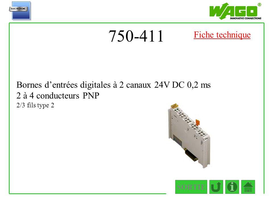 750-411 SORTIE Bornes dentrées digitales à 2 canaux 24V DC 0,2 ms 2 à 4 conducteurs PNP 2/3 fils type 2 Fiche technique