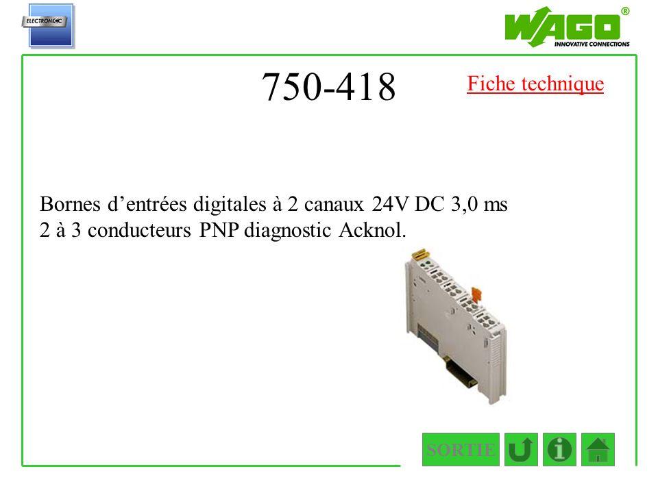 750-418 SORTIE Bornes dentrées digitales à 2 canaux 24V DC 3,0 ms 2 à 3 conducteurs PNP diagnostic Acknol. Fiche technique