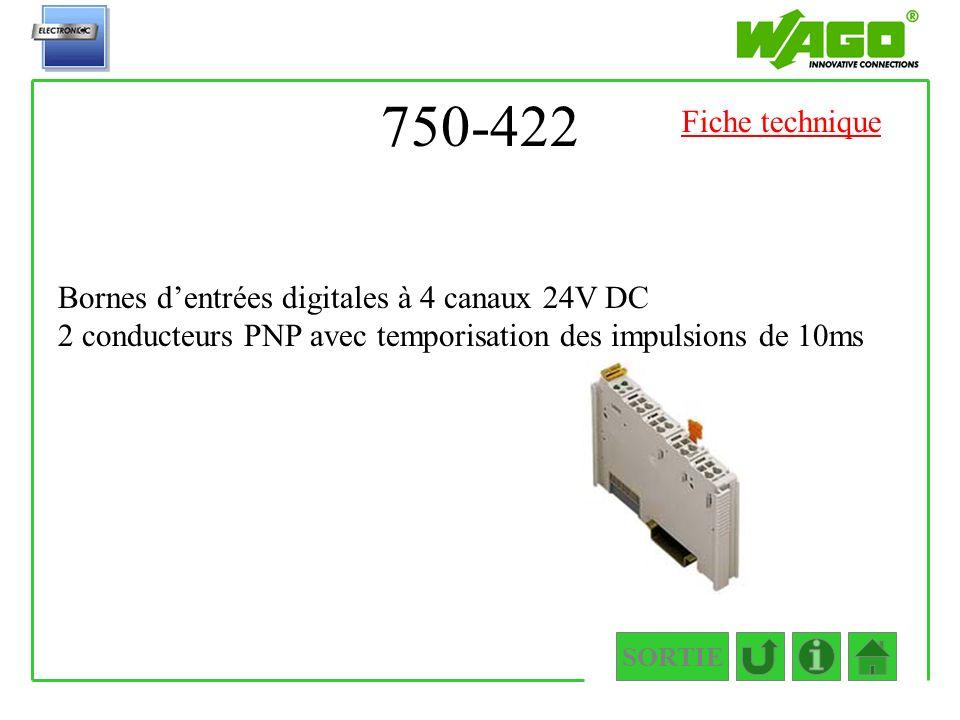 750-422 SORTIE Bornes dentrées digitales à 4 canaux 24V DC 2 conducteurs PNP avec temporisation des impulsions de 10ms Fiche technique