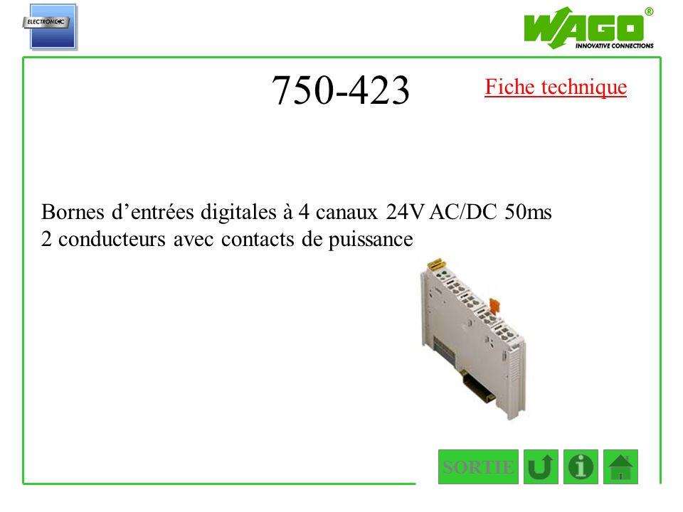 750-423 SORTIE Bornes dentrées digitales à 4 canaux 24V AC/DC 50ms 2 conducteurs avec contacts de puissance Fiche technique