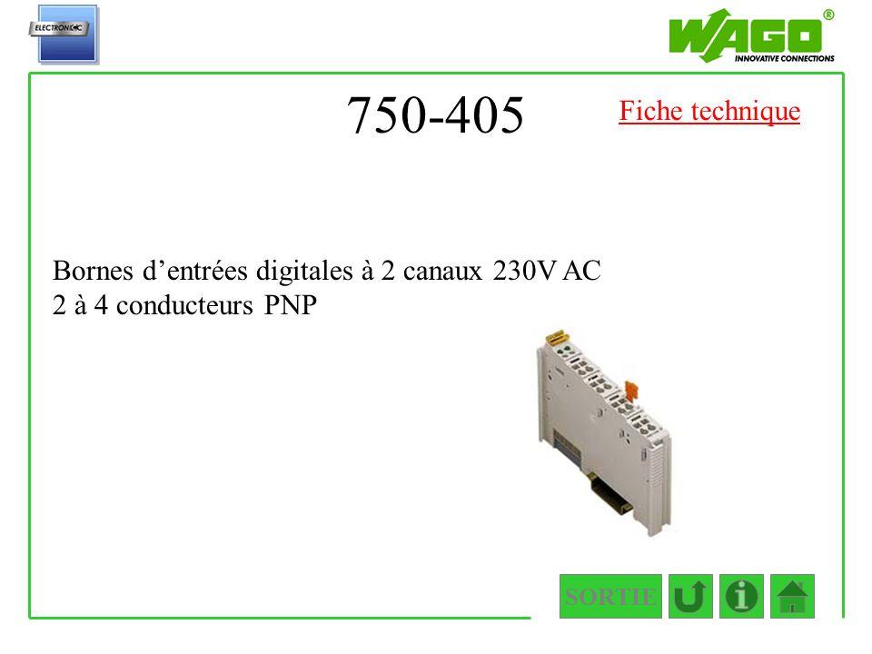 750-405 SORTIE Bornes dentrées digitales à 2 canaux 230V AC 2 à 4 conducteurs PNP Fiche technique