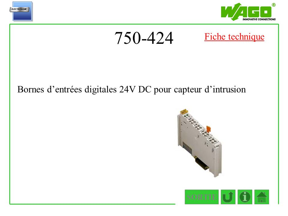 750-424 SORTIE Bornes dentrées digitales 24V DC pour capteur dintrusion Fiche technique
