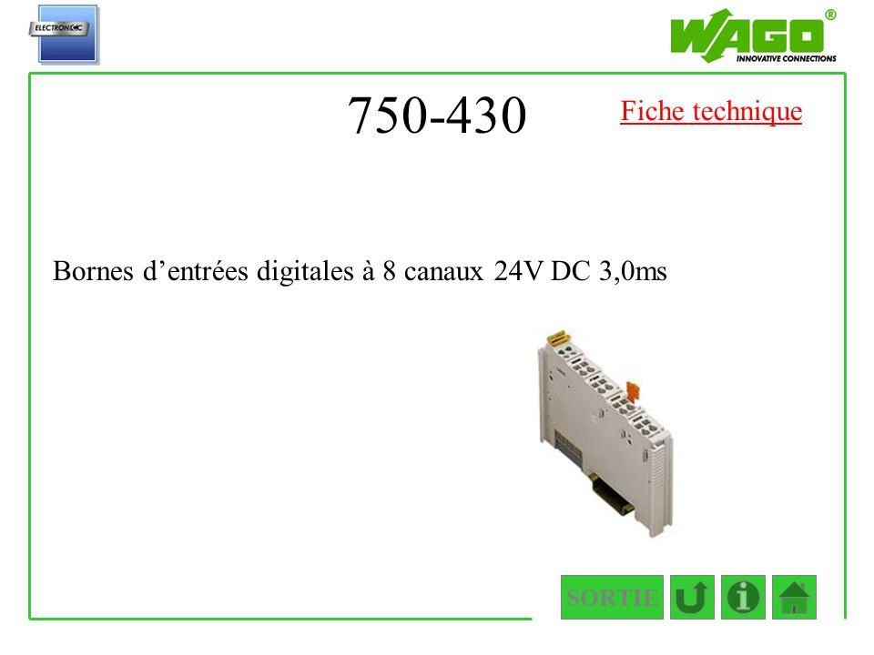 750-430 SORTIE Bornes dentrées digitales à 8 canaux 24V DC 3,0ms Fiche technique
