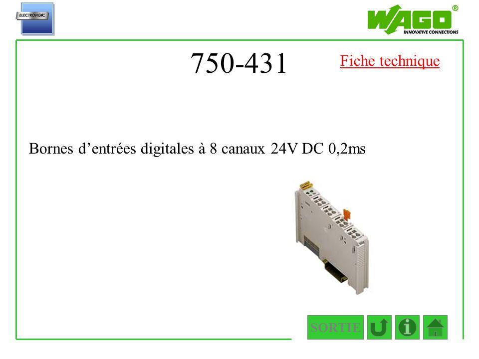 750-431 SORTIE Bornes dentrées digitales à 8 canaux 24V DC 0,2ms Fiche technique