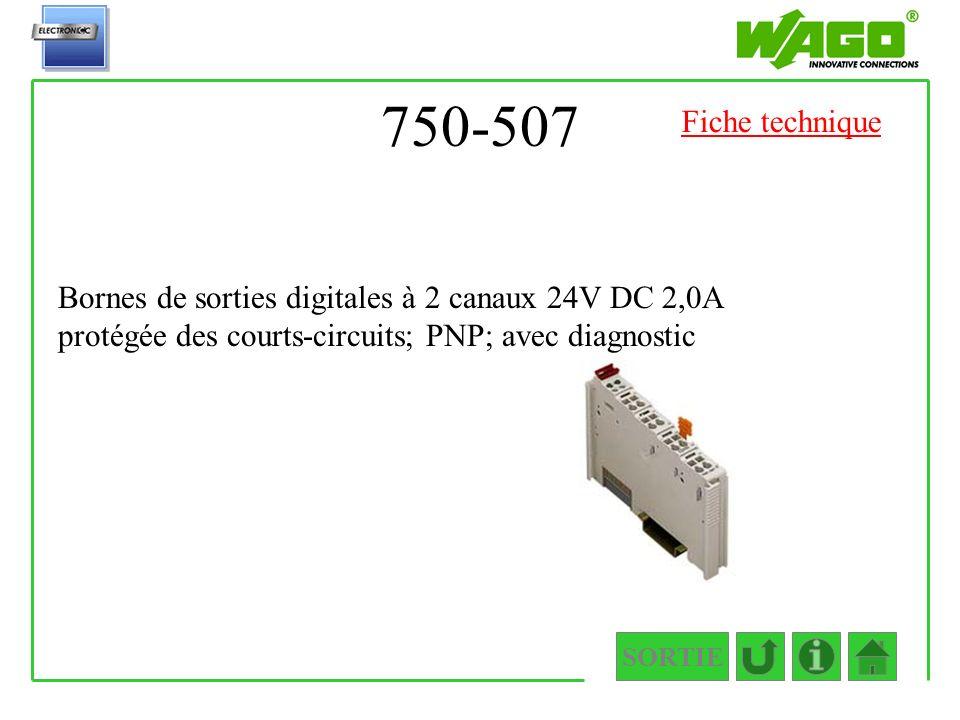 750-507 SORTIE Bornes de sorties digitales à 2 canaux 24V DC 2,0A protégée des courts-circuits; PNP; avec diagnostic Fiche technique
