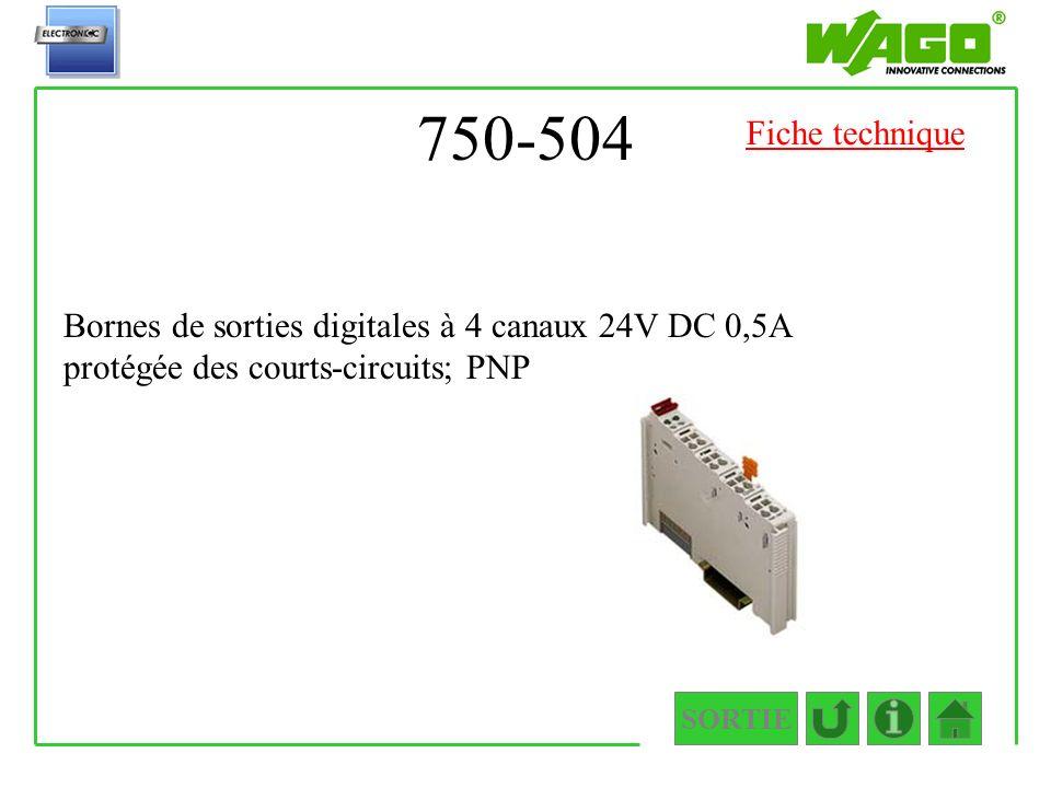 750-504 SORTIE Bornes de sorties digitales à 4 canaux 24V DC 0,5A protégée des courts-circuits; PNP Fiche technique