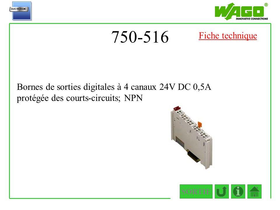 750-516 SORTIE Bornes de sorties digitales à 4 canaux 24V DC 0,5A protégée des courts-circuits; NPN Fiche technique