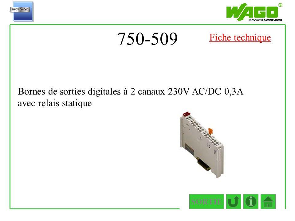 750-509 SORTIE Bornes de sorties digitales à 2 canaux 230V AC/DC 0,3A avec relais statique Fiche technique