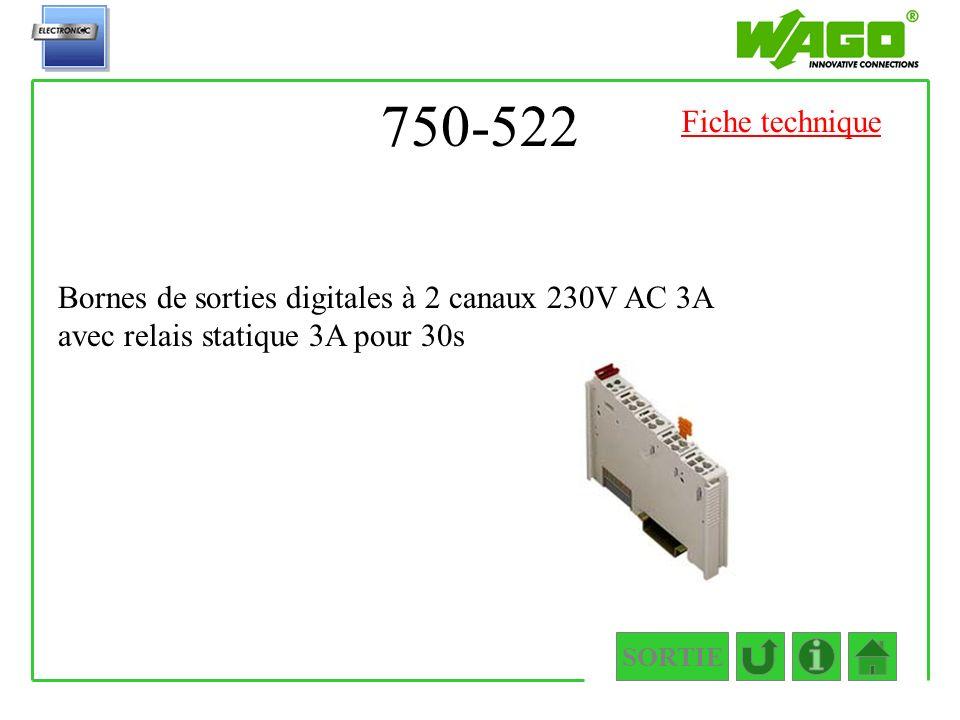 750-522 SORTIE Bornes de sorties digitales à 2 canaux 230V AC 3A avec relais statique 3A pour 30s Fiche technique