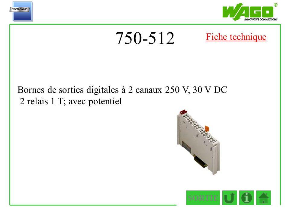 750-512 SORTIE Bornes de sorties digitales à 2 canaux 250 V, 30 V DC 2 relais 1 T; avec potentiel Fiche technique