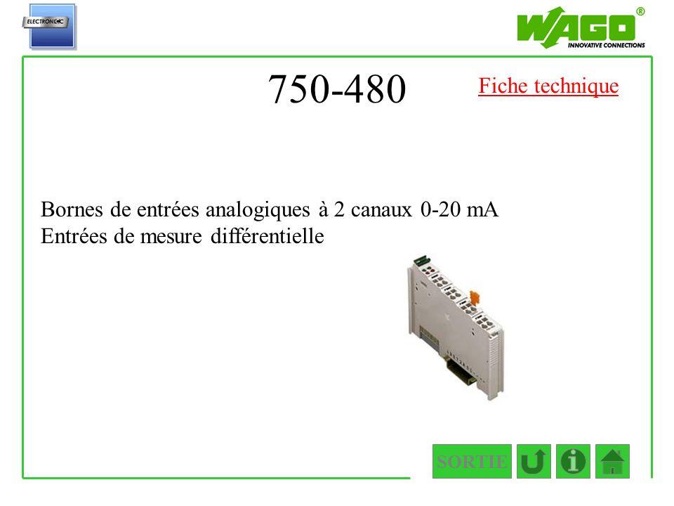 750-480 SORTIE Bornes de entrées analogiques à 2 canaux 0-20 mA Entrées de mesure différentielle Fiche technique